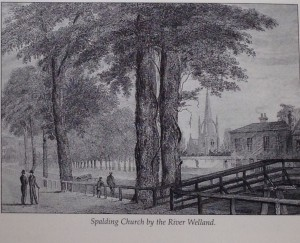 Lovely engraving depicting the Parish Church, River Welland