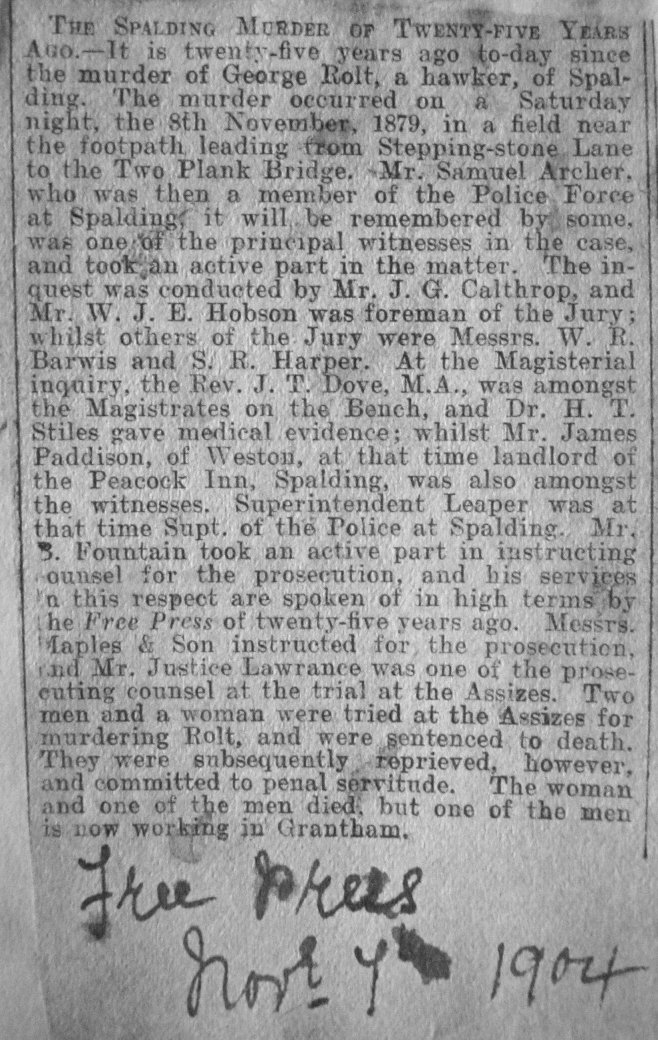 A Spalding Murder  1879