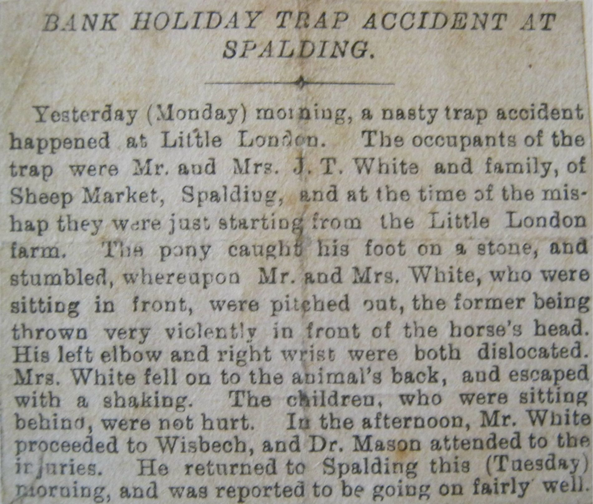 J.T White of Spalding trap accident Early 20th Century