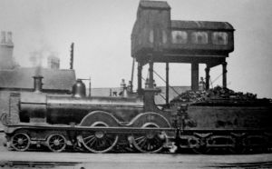 AOS P 2572  steam train in front of the water tank, spalding 1930s