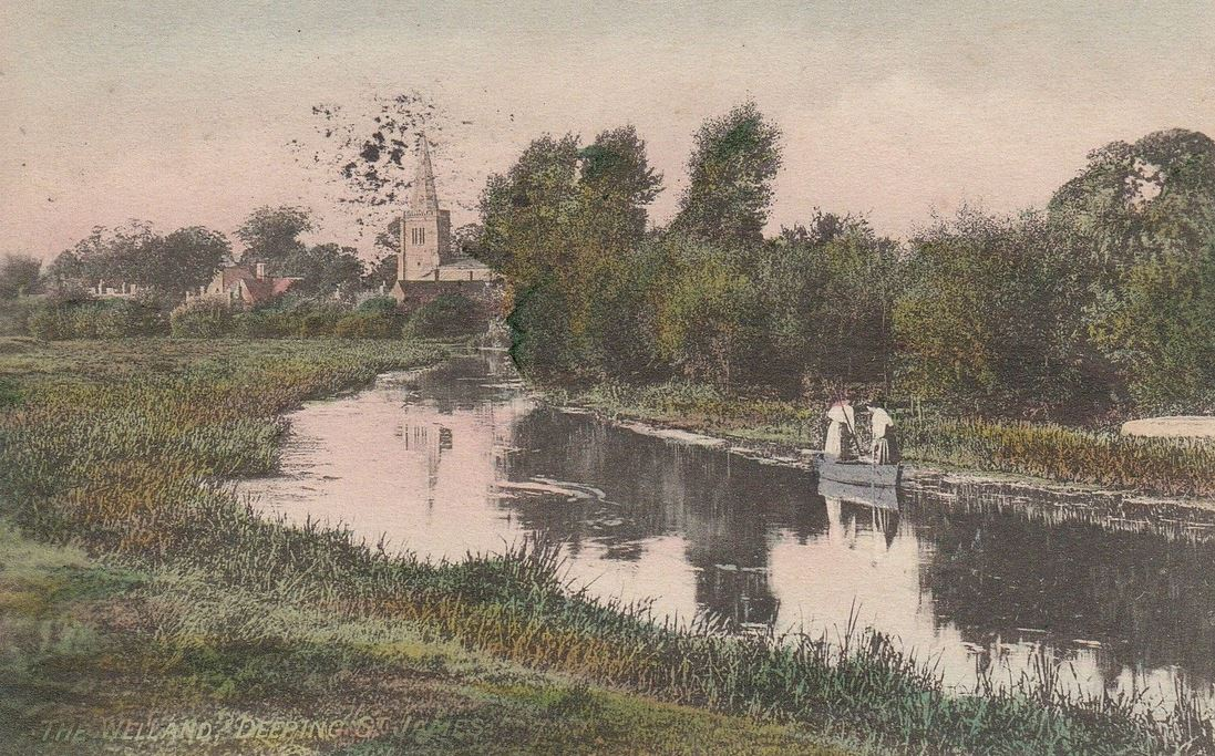 Postcard titled The Welland, Deeping St James