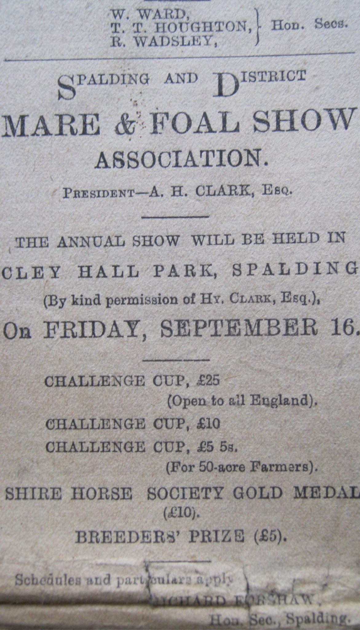 Advert for the Spalding & District Mare and Foal Show 1904