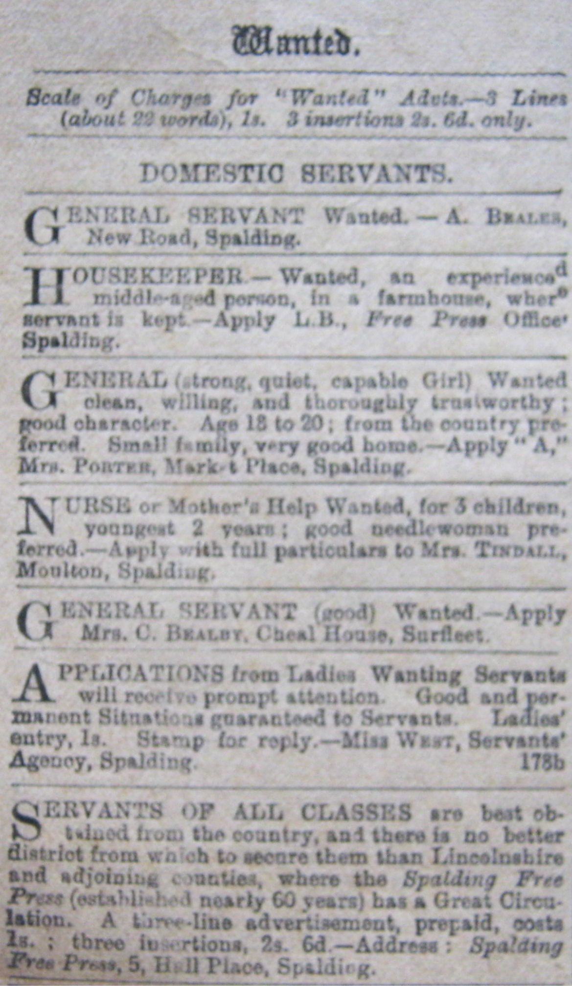 Wanted adverts in the Spalding Free Press Aug 16th 1904