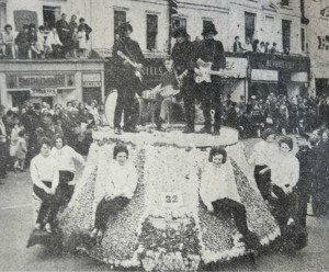 Beatlemania themed float by Spalding Young Farmers Club in 1964