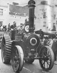 AOS P 2992 clayton and shuttleworth steam traction engine entered by william fowler of holbeach drove. 1965 flower parade