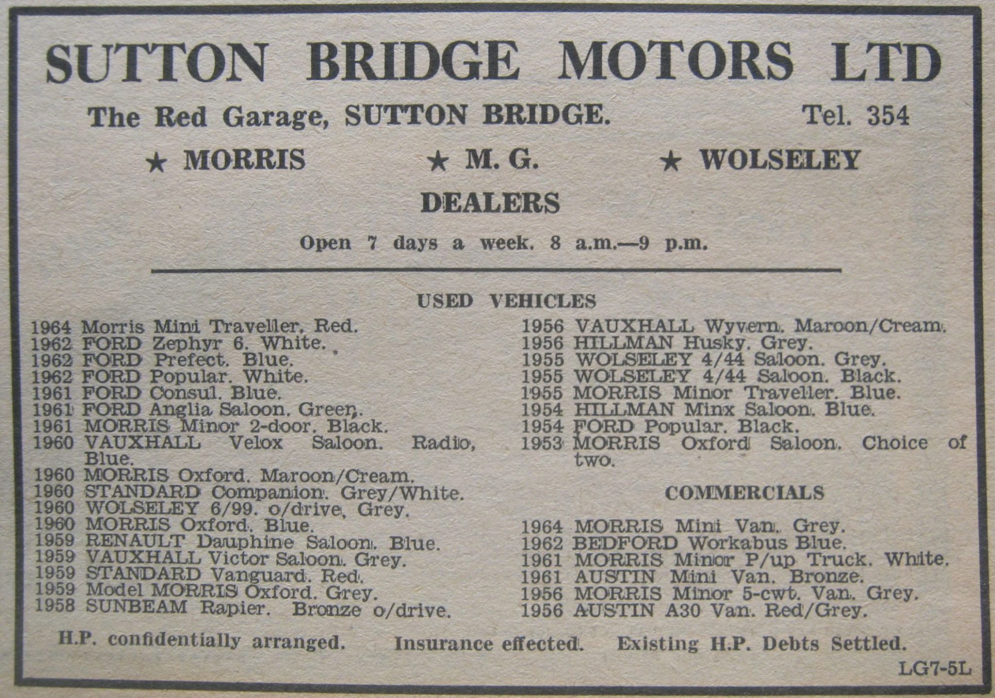 Sutton Bridge Motors advert 1965