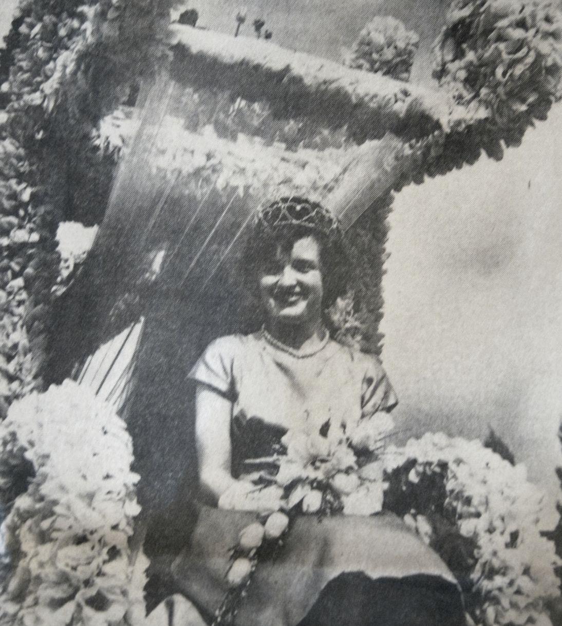 Tulip Queen on her float, Spalding 1964