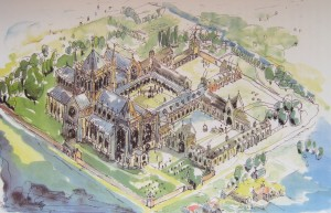 AOS P 3101 artist impression of croyland abbey prior to the dissolution of the monasteries in 1539