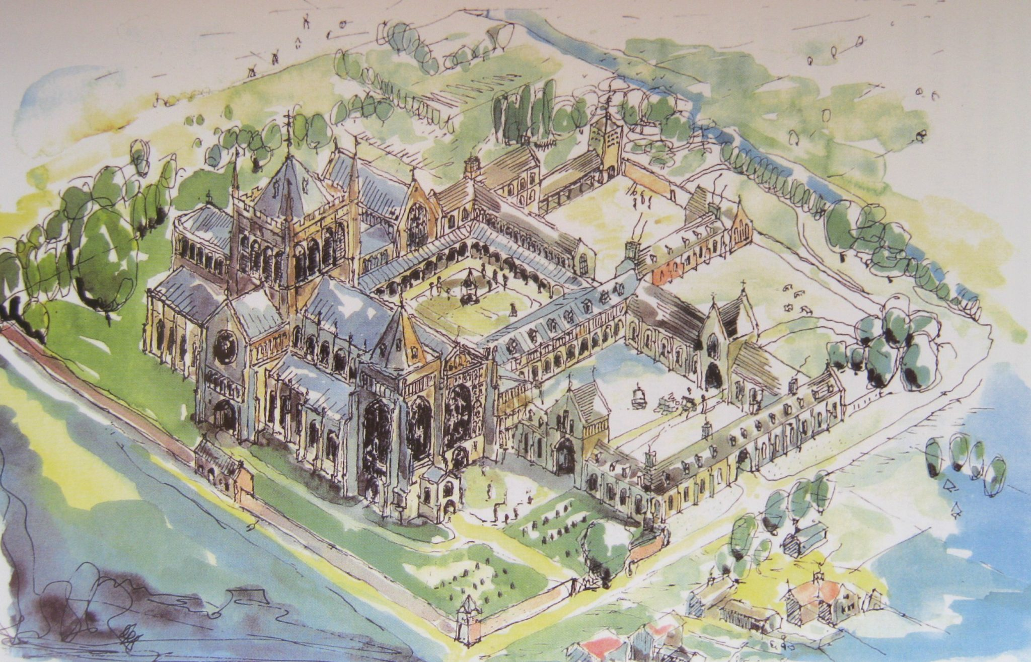 Artist's impression of Croyland Abbey