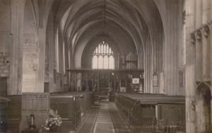 AOS P 3098 real photo postcard, inside the abbey church crowland pre 1914