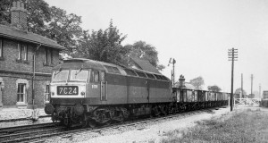 AOS P 3524 littleworth. no D 1791, later class 47 no 47310 heads an up coal train through the closed station on 28th sept 1965