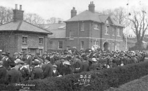AOS P 3628 Crowds gather in Haverfield Road, Spalding, Lincs on Sunday 4th April 1919 Drill Hall in the background. Photo by J W Williamson