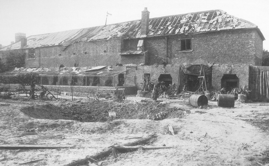 AOS P 3904 damage in ayscoughfee gardens after it was bombed on the afternoon of 2nd Aug 1942