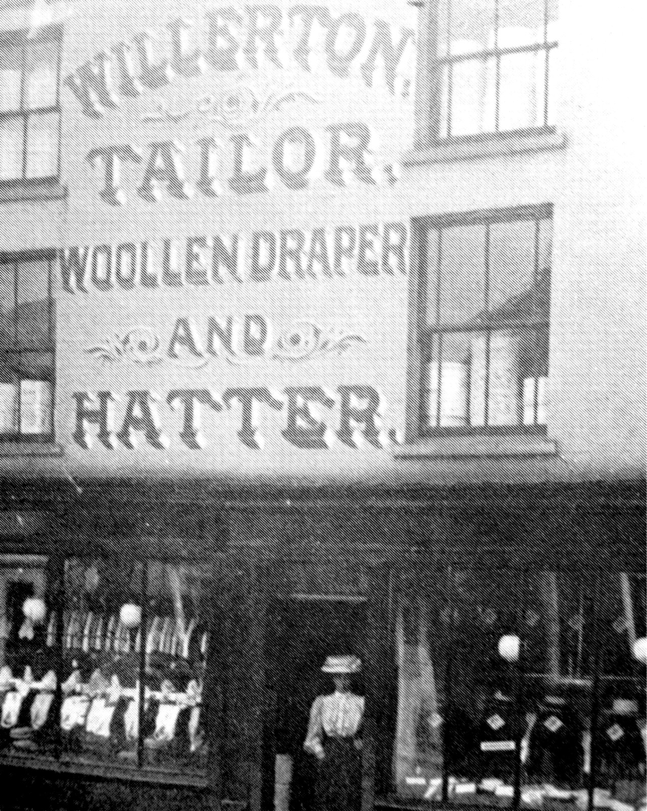 The shop of Willerton Tailor, High Street, Holbeach. Early 1900's