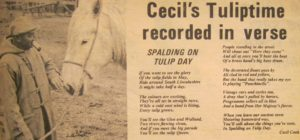 AOS P 4035 cecil cook, smallholder, horseman and british legion bandsman poem about tulip day. cecil lived fir tree house, northgate p-beck