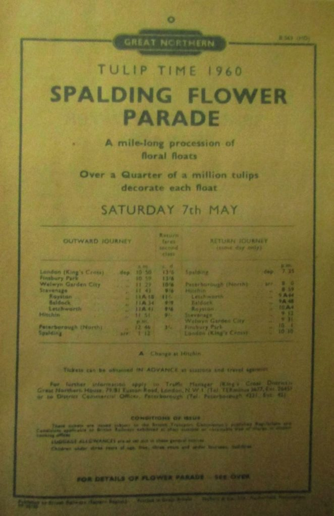 1960 train timetable to flower parade
