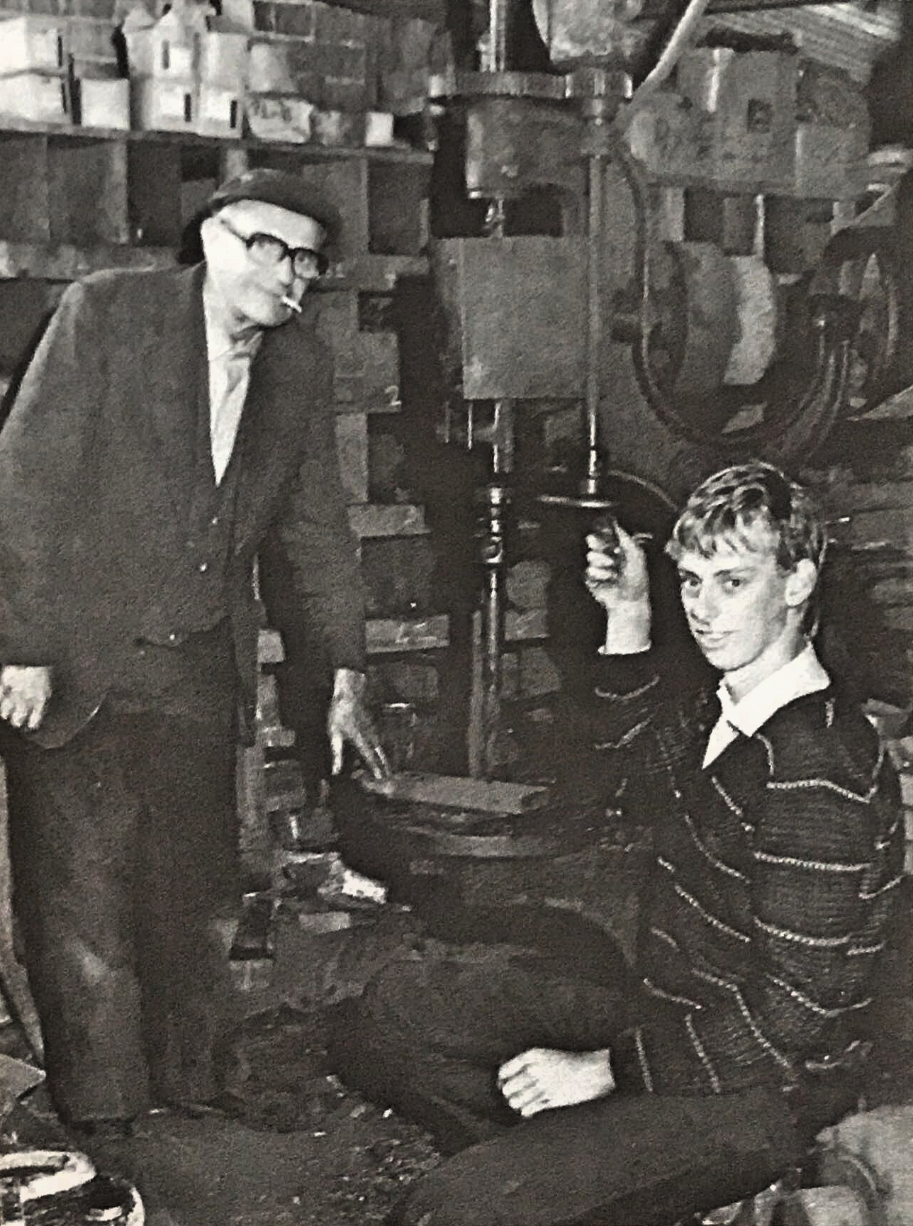 Blacksmith Cyril Carter with grandson Stuart