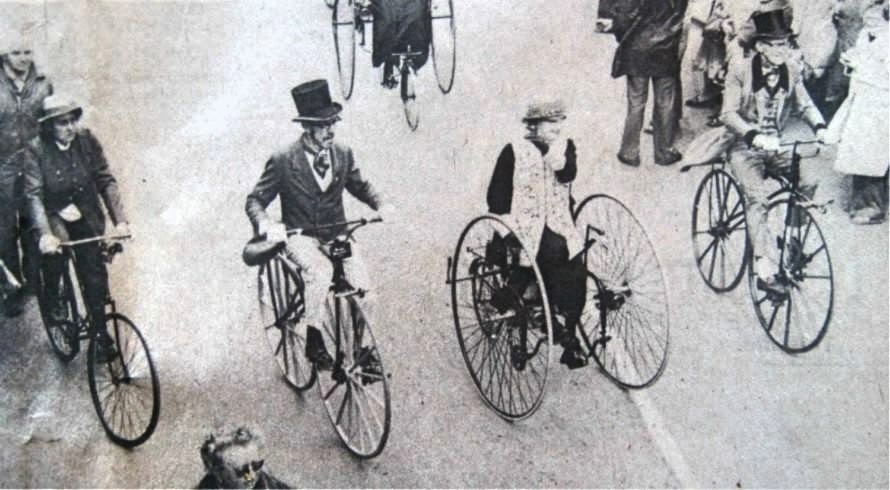 Long Sutton and district veteran cycling club at Flower Parade 1977