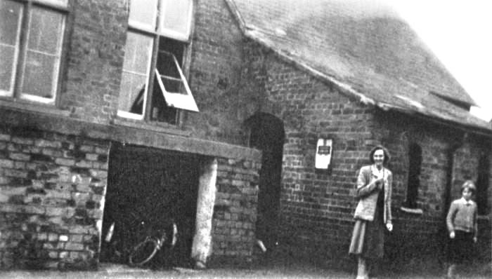Weston Hills School 1950s Outside Mrs Cooper Headmistress with Barbara Clarkson