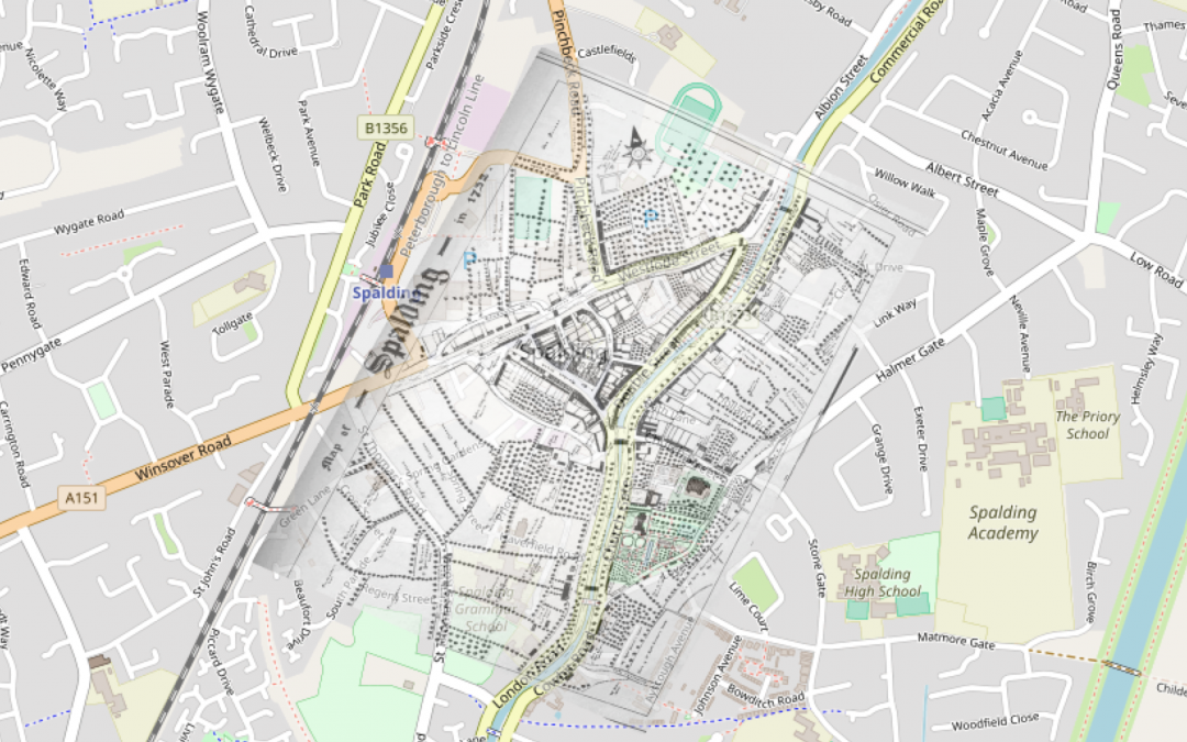 Then and Now – Grundy's Map of 1732 overlaid on today's map
